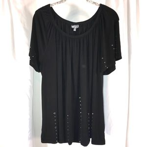 Essentials Black Studded Top, Size 2X
